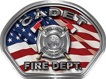 Cadet Fire Fighter, EMS, Rescue Helmet Face Decal Reflective With American Flag