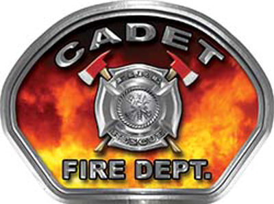Cadet Fire Fighter, EMS, Rescue Helmet Face Decal Reflective in Real Fire