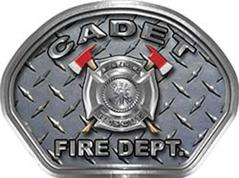 Cadet Fire Fighter, EMS, Rescue Helmet Face Decal Reflective With Diamond Plate