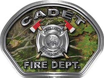 Cadet Fire Fighter, EMS, Rescue Helmet Face Decal Reflective in Real Camo