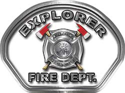 Explorer Fire Fighter, EMS, Rescue Helmet Face Decal Reflective in White