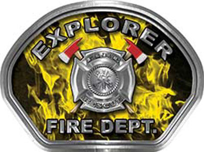 Explorer Fire Fighter, EMS, Rescue Helmet Face Decal Reflective in Inferno Yellow