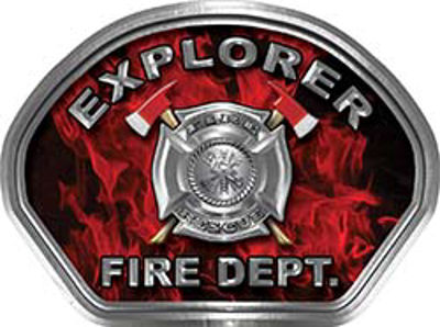 Explorer Fire Fighter, EMS, Rescue Helmet Face Decal Reflective in Inferno Red