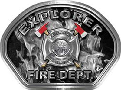 Explorer Fire Fighter, EMS, Rescue Helmet Face Decal Reflective in Inferno Gray