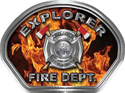 Explorer Fire Fighter, EMS, Rescue Helmet Face Decal Reflective in Inferno Real Flames