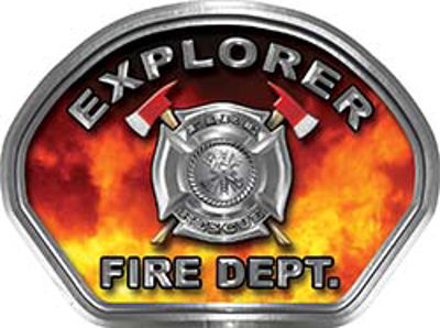 Explorer Fire Fighter, EMS, Rescue Helmet Face Decal Reflective in Real Fire