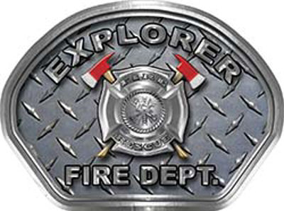 Explorer Fire Fighter, EMS, Rescue Helmet Face Decal Reflective With Diamond Plate