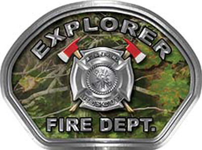 Explorer Fire Fighter, EMS, Rescue Helmet Face Decal Reflective in Real Camo