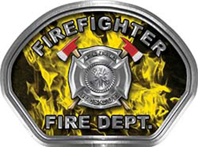 Firefighter Fire Fighter, EMS, Rescue Helmet Face Decal Reflective in Inferno Yellow