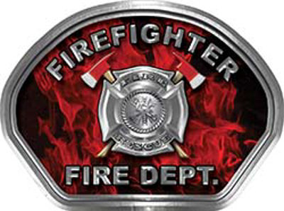 Firefighter Fire Fighter, EMS, Rescue Helmet Face Decal Reflective in Inferno Red