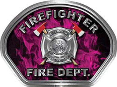 Firefighter Fire Fighter, EMS, Rescue Helmet Face Decal Reflective in Inferno Pink