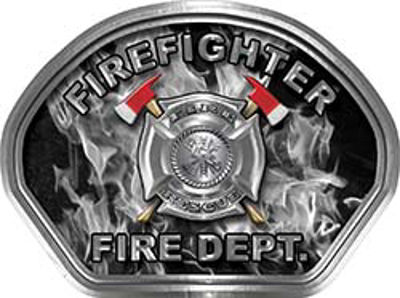 Firefighter Fire Fighter, EMS, Rescue Helmet Face Decal Reflective in Inferno Gray