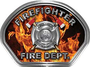 Firefighter Fire Fighter, EMS, Rescue Helmet Face Decal Reflective in Inferno Real Flames