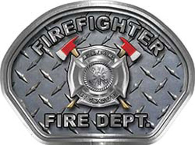 Firefighter Fire Fighter, EMS, Rescue Helmet Face Decal Reflective With Diamond Plate