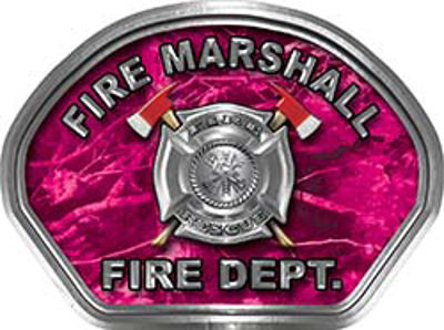 Fire Marshall Fire Fighter, EMS, Rescue Helmet Face Decal Reflective in Pink Camo
