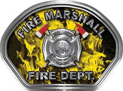 Fire Marshall Fire Fighter, EMS, Rescue Helmet Face Decal Reflective in Inferno Yellow