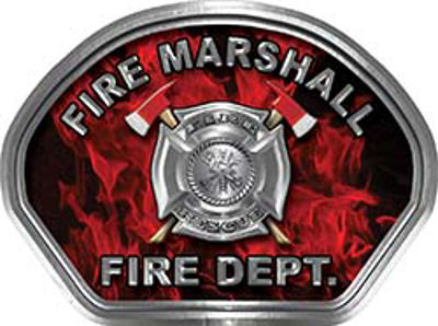 Fire Marshall Fire Fighter, EMS, Rescue Helmet Face Decal Reflective in Inferno Red