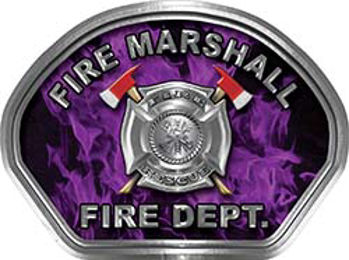 Fire Marshall Fire Fighter, EMS, Rescue Helmet Face Decal Reflective in Inferno Purple