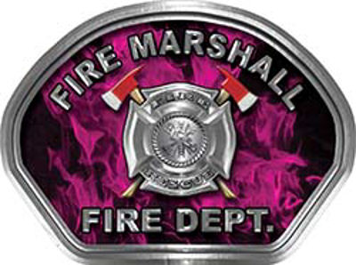Fire Marshall Fire Fighter, EMS, Rescue Helmet Face Decal Reflective in Inferno Pink
