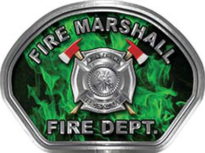 Fire Marshall Fire Fighter, EMS, Rescue Helmet Face Decal Reflective in Inferno Green
