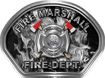 Fire Marshall Fire Fighter, EMS, Rescue Helmet Face Decal Reflective in Inferno Gray