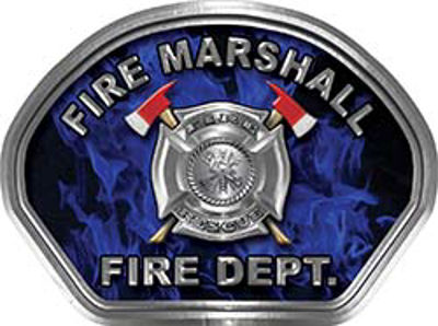 Fire Marshall Fire Fighter, EMS, Rescue Helmet Face Decal Reflective in Inferno Blue