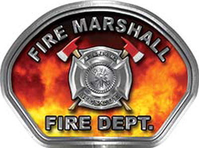 Fire Marshall Fire Fighter, EMS, Rescue Helmet Face Decal Reflective in Real Fire