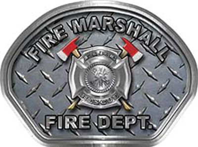 Fire Marshall Fire Fighter, EMS, Rescue Helmet Face Decal Reflective With Diamond Plate