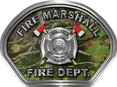 Fire Marshall Fire Fighter, EMS, Rescue Helmet Face Decal Reflective in Real Camo