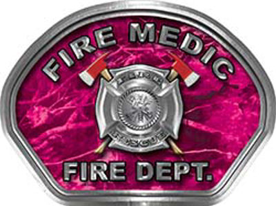 Fire Medic Fire Fighter, EMS, Rescue Helmet Face Decal Reflective in Pink Camo