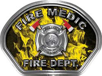 Fire Medic Fire Fighter, EMS, Rescue Helmet Face Decal Reflective in Inferno Yellow