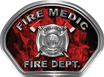 Fire Medic Fire Fighter, EMS, Rescue Helmet Face Decal Reflective in Inferno Red