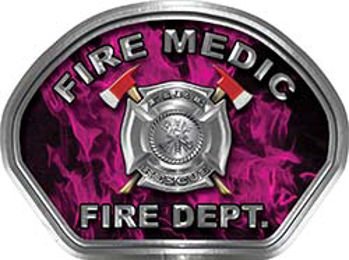 Fire Medic Fire Fighter, EMS, Rescue Helmet Face Decal Reflective in Inferno Pink