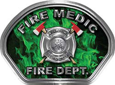 Fire Medic Fire Fighter, EMS, Rescue Helmet Face Decal Reflective in Inferno Green