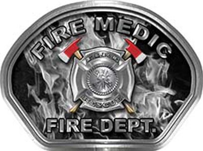 Fire Medic Fire Fighter, EMS, Rescue Helmet Face Decal Reflective in Inferno Gray