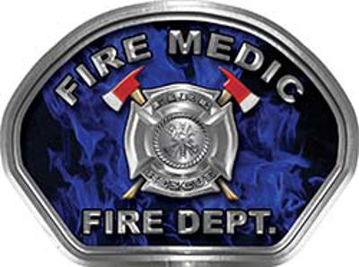 Fire Medic Fire Fighter, EMS, Rescue Helmet Face Decal Reflective in Inferno Blue
