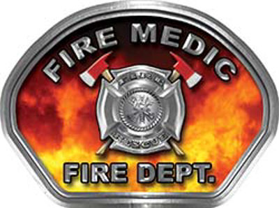 Fire Medic Fire Fighter, EMS, Rescue Helmet Face Decal Reflective in Real Fire