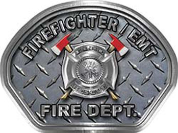 Fire Medic Fire Fighter, EMS, Rescue Helmet Face Decal Reflective With Diamond Plate
