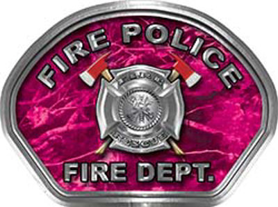 Fire Police Fire Fighter, EMS, Rescue Helmet Face Decal Reflective in Pink Camo