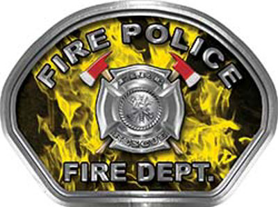 Fire Police Fire Fighter, EMS, Rescue Helmet Face Decal Reflective in Inferno Yellow