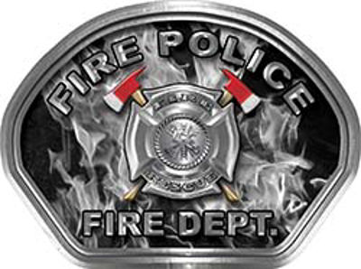 Fire Police Fire Fighter, EMS, Rescue Helmet Face Decal Reflective in Inferno Gray