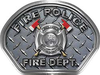 Fire Police Fire Fighter, EMS, Rescue Helmet Face Decal Reflective With Diamond Plate
