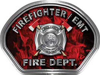 Firefighter EMT Fire Fighter, EMS, Rescue Helmet Face Decal Reflective in Inferno Red