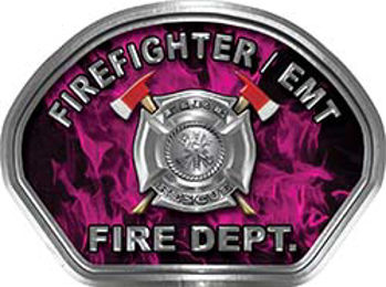 Firefighter EMT Fire Fighter, EMS, Rescue Helmet Face Decal Reflective in Inferno Pink