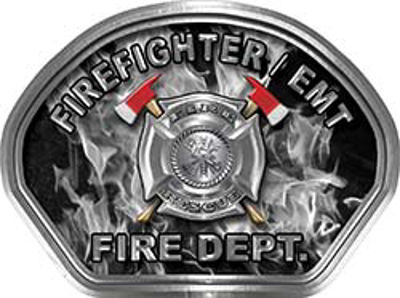 Firefighter EMT Fire Fighter, EMS, Rescue Helmet Face Decal Reflective in Inferno Gray