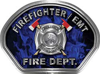 Firefighter EMT Fire Fighter, EMS, Rescue Helmet Face Decal Reflective in Inferno Blue