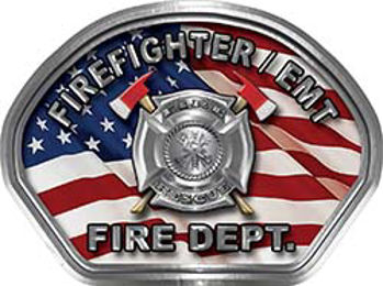 Firefighter EMT Fire Fighter, EMS, Rescue Helmet Face Decal Reflective With American Flag