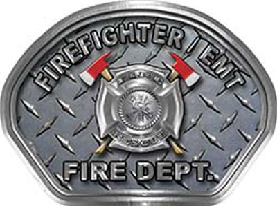 Firefighter EMT Fire Fighter, EMS, Rescue Helmet Face Decal Reflective With Diamond Plate