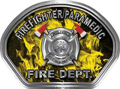 Firefighter PARAMEDIC Fire Fighter, EMS, Rescue Helmet Face Decal Reflective in Inferno Yellow
