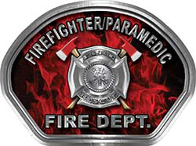 Firefighter PARAMEDIC Fire Fighter, EMS, Rescue Helmet Face Decal Reflective in Inferno Red